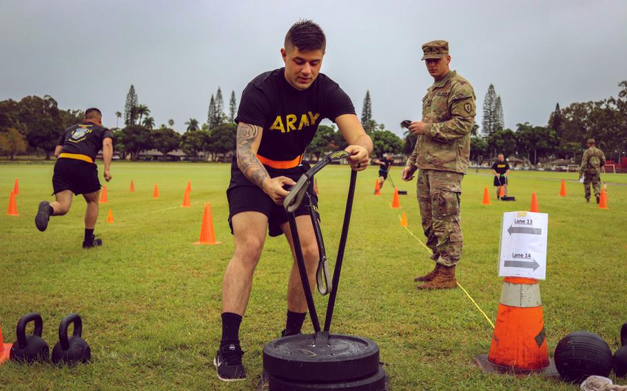 Spc. Aaron Chamberlain, 1st Battalion, 21st Infantry Regiment, 2nd Infantry Brigade Combat Team, 25th Infantry Division conducts the sprint, drag and carry during a field-testing of the Army Combat Fitness Test at Schofield Barracks, Hawaii, March 6, 2019.