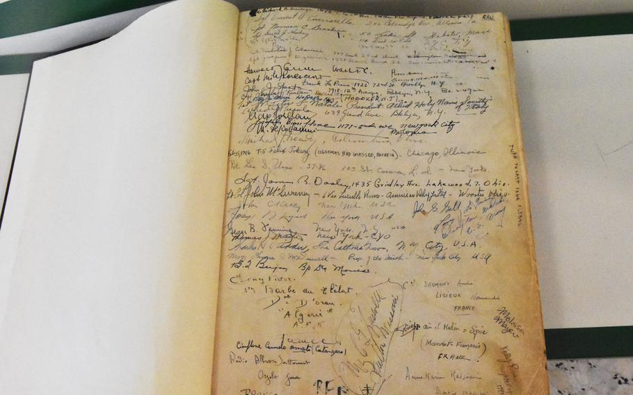 The names of the very first servicemembers to visit the USO Rome center are scribbled here on this guest book page. The exact date is unknown, though it was sometime in the late 1940s.