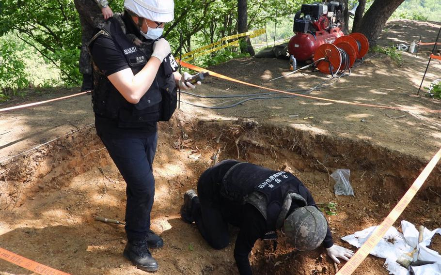 A team from MAKRI, the South Korean agency for recovering soldiers' remains, found artifacts and remains from the Korean War at a DMZ site excavated in spring 2019.