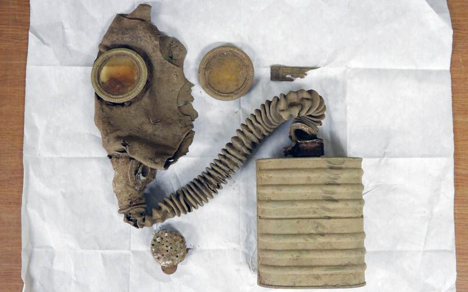 A gas mask, believed to be of Chinese origin, was discovered at a site in the DMZ during a search for remains of Korean War soldiers in spring 2019.