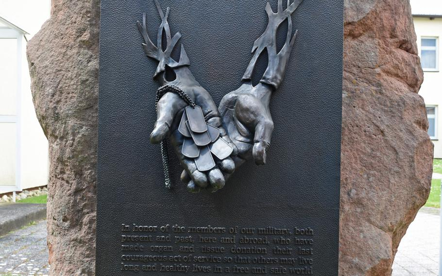 The Fallen Soldier Donor Memorial was unveiled at Landstuhl Regional Medical Center in Germany on Tuesday, May 29, 2019. The memorial is dedicated to fallen U.S. military members who have donated organs. At LRMC, organs from military personnel are donated to patients in Germany and neighboring countries.