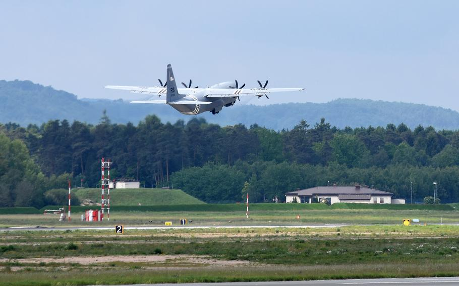 A C-130J from the 37th Airlift Squadron at Ramstein Air Base, Germany, takes off Wednesday, May 29, 2019, heading for Normandy, France. Four planes and about 40 personnel from the squadron will participate in events next week marking the 75th anniversary of D-Day.