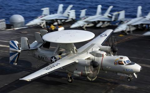 An E 2D Hawkeye from Carrier Airborne Early Warnin.
