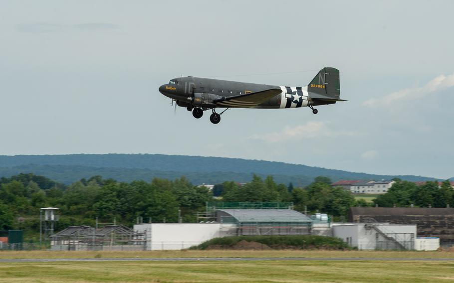 A C-47 Skytrain takes off during the 70th anniversary commemoration of the end of the Berlin Airlift at Clay Kaserne airfield, Monday, June 10, 2019.