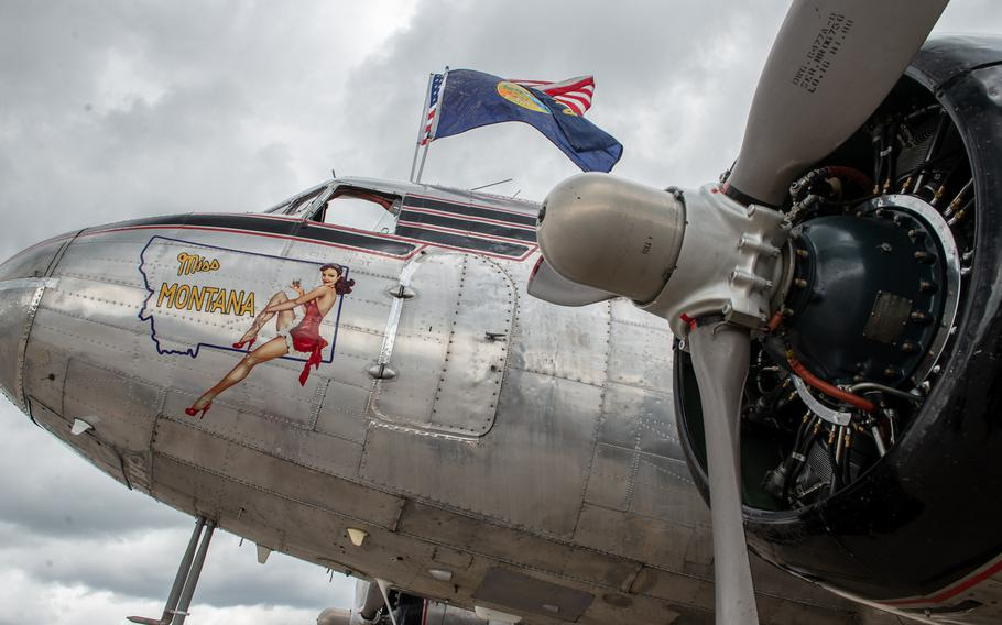 The C-47 known as Miss Montana sits on display during the 70th anniversary commemoration of the end of the Berlin Airlift at Clay Kaserne airfield, Monday, June 10, 2019.