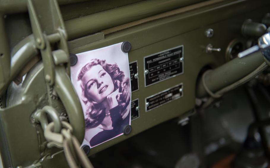A photo of Rita Hayworth adorns the dash of a Dodge WC56, known as the command car, during the 70th anniversary commemoration of the end of the Berlin Airlift at Clay Kaserne airfield, Monday, June 10, 2019.