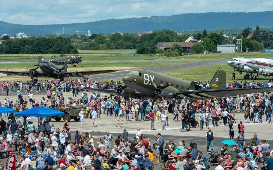 Thousands of spectators tour displays and watch demonstrations at the 70th anniversary commemoration of the end of the Berlin Airlift at Clay Kaserne airfield, Monday, June 10, 2019.
