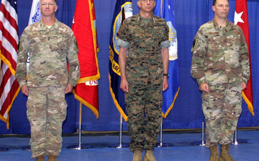 Maj. Gen. Marcus Hicks, left, relinquishes command of U.S. Special Operations Command Africa Friday, June 28, 2019, to Brig. Gen. Dag Anderson. Gen. Thomas Waldhauser, center, officiated the ceremony at Africa Command headquarters in Stuttgart.