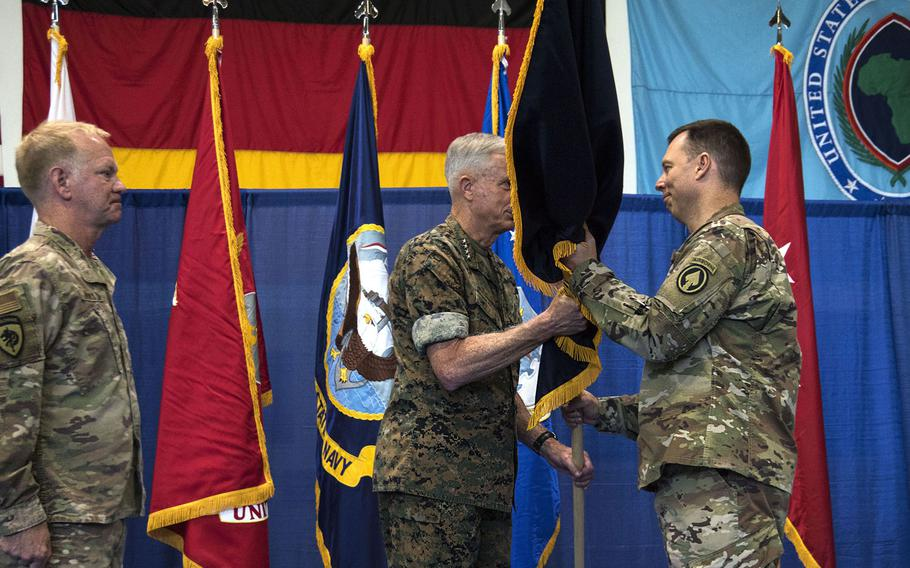 U.S. Air Force Brig. Gen. Dag Anderson, right, takes command of Special Operations Command Africa Friday, June 28, 2019 during a ceremony at Kelley Barracks  in Stuttgart. U.S. Africa Command's Gen. Thomas Waldhauser, center, officiated the ceremony.