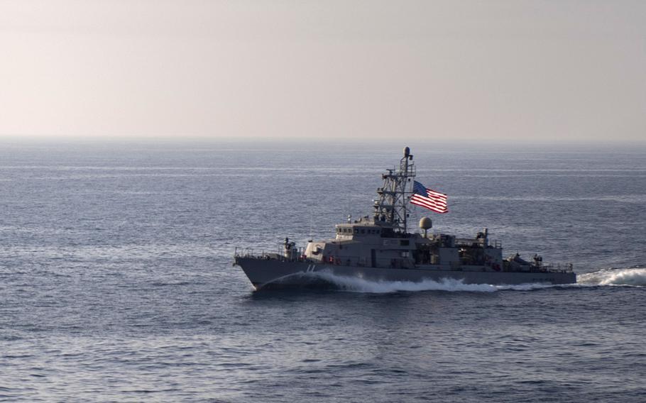 The coastal patrol ship USS Whirlwind transits the Strait of Hormuz, May 3, 2019.
