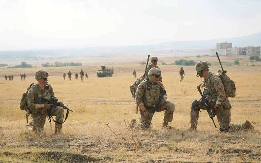 U.S. soldiers assigned to 2nd Squadron, 2nd Cavalry Regiment, prepare for the live-fire exercise during Agile Spirit 19 at the Vaziani Training Area near Tbilisi, Georgia, July 29, 2019.