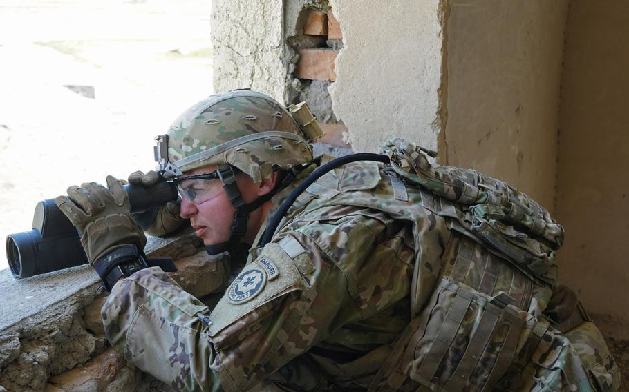 A 2nd Squadron, 2nd Cavalry Regiment soldier scans an area for reconnaissance and security training during Agile Spirit 19 near Tbilisi, Georgia, July 30, 2019.