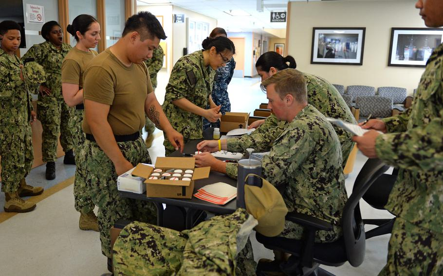 Navy Operational Support Center North Island conducts a monthly urinalysis test of assigned reserve sailors on Naval Air Station North Island, San Diego, July 13, 2019.