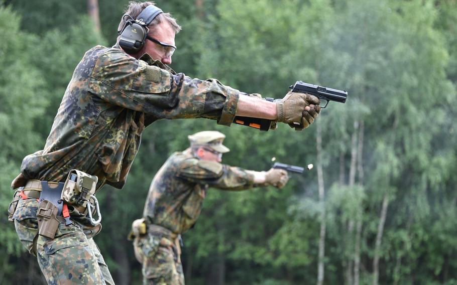 German snipers conduct the precision marksmanship lane as part of the European Best Sniper Team Competition at the Grafenwoehr Training Area in July 2019. German Chancellor Angela Merkel has said the country must improve its armed forces.