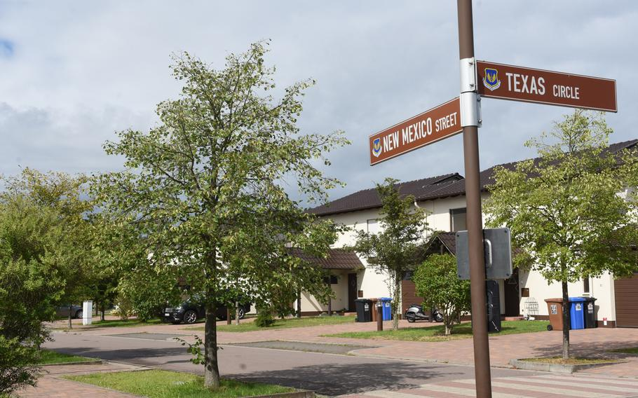 This street on Ramstein Air Base, Germany, shows a typical neighborhood on base, Aug. 14, 2019. Under a new program being rolled out to ease a chronic child care shortage, military spouses who volunteer and qualify to be family child care providers will get priority placement for base housing in the Kaiserslautern area.