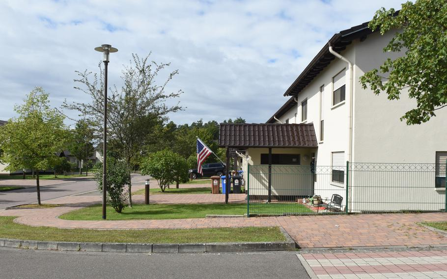 This street corner on Ramstein Air Base, Germany, shows a typical neighborhood on base, Aug. 14, 2019. Under a new program being rolled out to ease a chronic child care shortage, military spouses who volunteer and qualify to be family child care providers will get priority placement for base housing in the Kaiserslautern area.