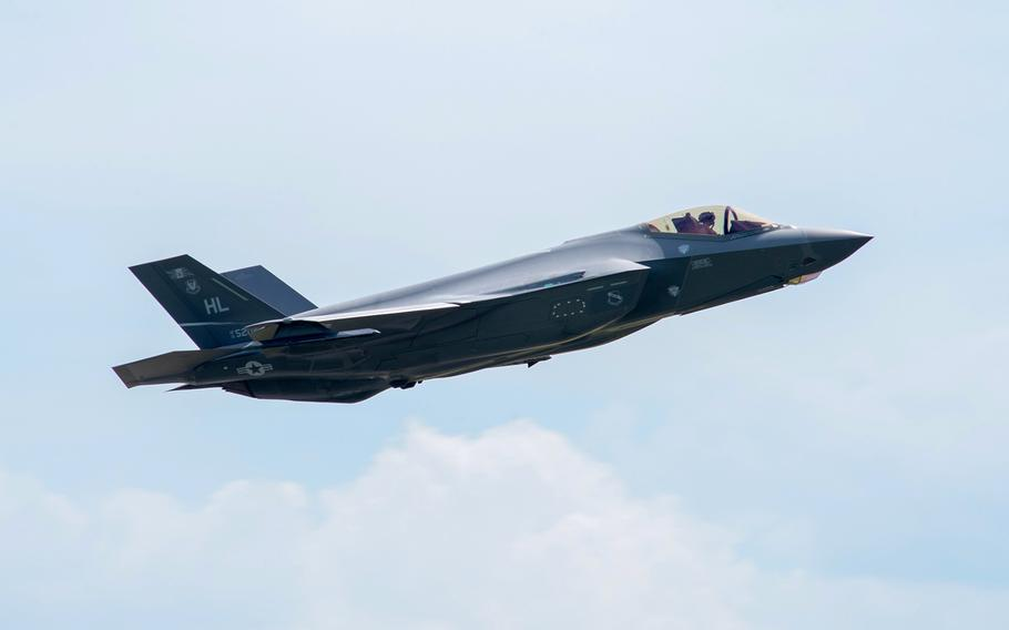 An F-35 Lightning II flies away from Spangdahlem Air Base, Germany, June 18, 2019. The Defense Department has awarded Lockheed Martin an additional $2.4 billion to provide spare parts for the aircraft.