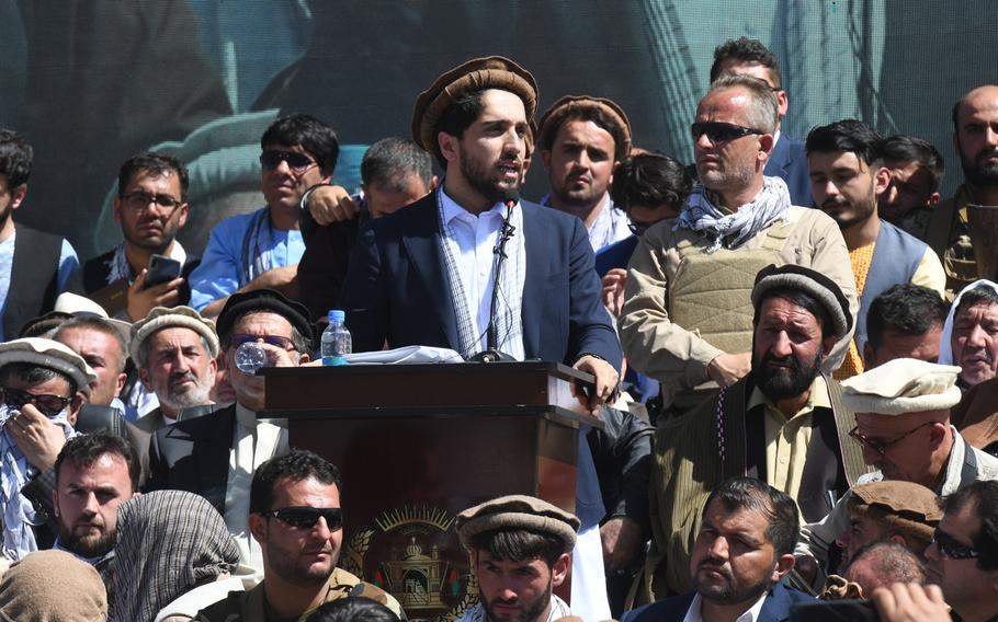 Ahmad Massoud, son of slain anti-Taliban commander Ahmad Shah Massoud, speaks to a crowd in Panjshir, Afghanistan, on Thursday, Sept. 5, 2019, when he launched a political movement to counter the Taliban.
