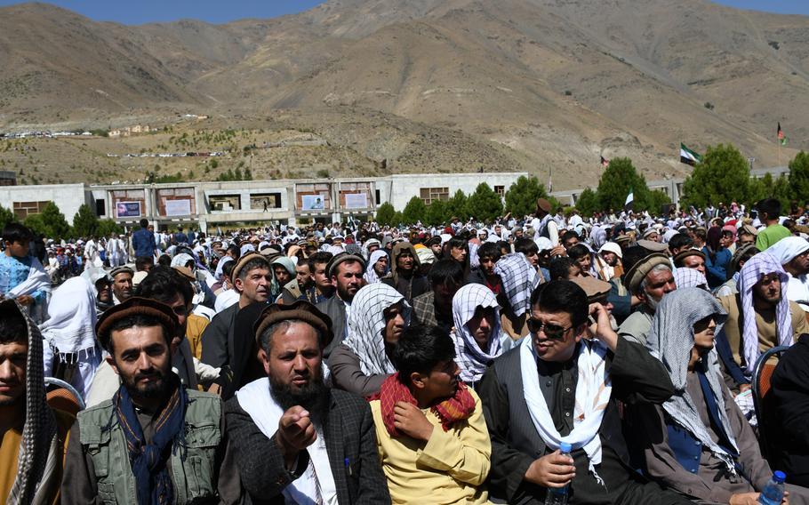 Supporters listen to Ahmad Massoud, son of slain Northern Alliance leader Ahmad Shah Massoud, launch a new anti-Taliban movement in Panjshir, Afghanistan, on Thursday, Sept. 5, 2019.