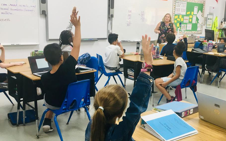 Heather Heffernan, a 5th grade teacher at the Bahrain School, leads class on Sept. 5, 2019. The Bahrain School has a new policy of assigning no homework other than reading for grades K-5, falling in line with a Bahrain Ministry of Education decision announced last year.