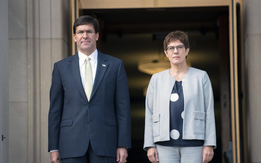 U.S. Defense Secretary Mark T. Esper hosts German Defense Minister Annegret Kramp-Karrenbauer at the Pentagon, Washington, D.C., Sept. 23, 2019. During talks with Kramp-Karrenbauer, Esper urged Germany to invest more in defense.