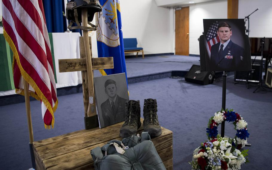 A memorial service for Staff Sgt. Adam Erickson was held at Chapel 1 on Edwards Air Force Base, Calif., Sept. 20, 2019.