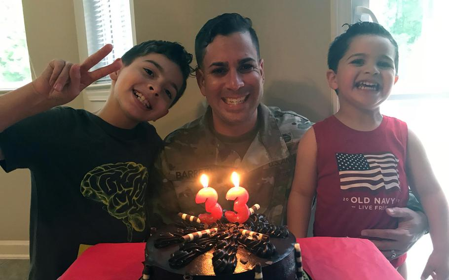 Sgt. 1st Class Elis A. Barreto Ortiz, 34, from Morovis, Puerto Rico, celebrates his birthday with his two sons Elis Nagel Barreto-Aponte, now 11, and Jacknel Barreto-Aponte, now 4. Barreto died Sept. 5, 2019, when a Taliban suicide bomb tore through his convoy in Kabul.