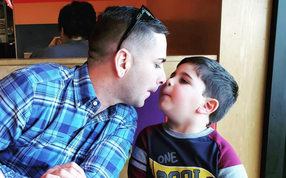 Sgt. 1st Class Elis A. Barreto Ortiz, 34, from Morovis, Puerto Rico, rubs noses with his son, Jacknel Barreto-Aponte, now 4. Barreto died Sept. 5, 2019, when a Taliban suicide bomb tore through his convoy in the Afghan capital.