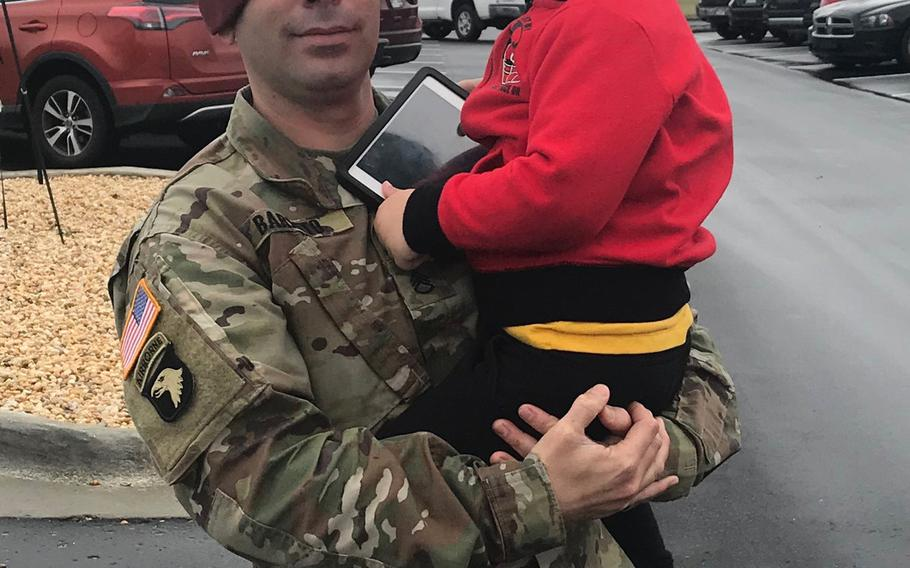 Sgt. 1st Class Elis A. Barreto Ortiz, 34, from Morovis, Puerto Rico, holds his son, Jacknel Barreto-Aponte, now 4. Barreto died Sept. 5, 2019 when a Taliban suicide bomb tore through his convoy in the Afghan capital.
