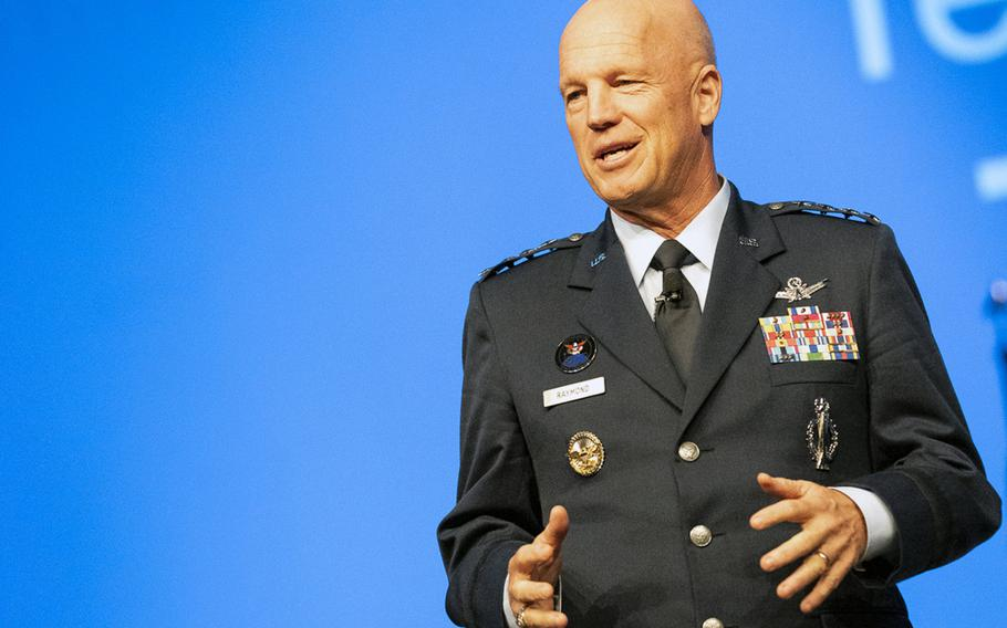 Gen. John Raymond, head of U.S. Space Command and Air Force Space Command, speaks at an Air Force Association event at National Harbor, Md., Sept. 16, 2019. Raymond said in Germany on Oct. 16 that Space Command would send experts out to major commands worldwide.