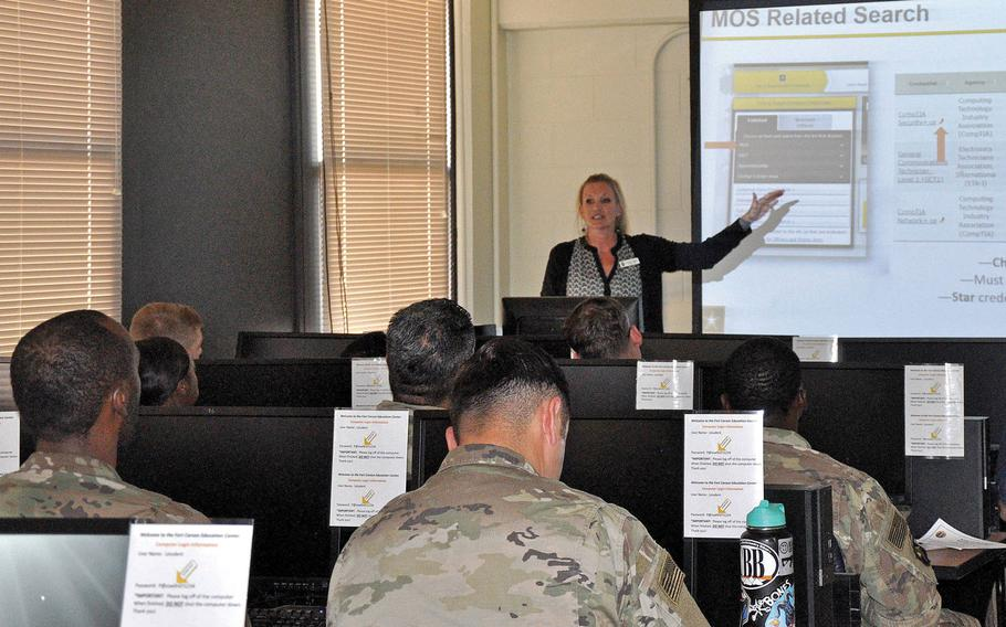 Ceara Tapin, lead education counselor, briefs soldiers on the new Army Credentialing Assistance Program Oct. 2, 2019, at Fort Carson, Colo. National Guardsmen will also be eligible for the program in January.