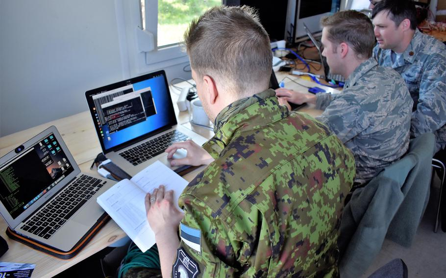 Maryland National Guard cyberwarfare operators support Estonian service members during an exercise in Estonia in 2018. The U.S. military has dispatched a team to Montenegro, in part to study the cyber tactics of adversaries.