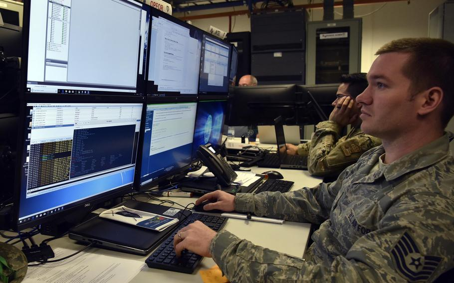 Tech. Sgt. Noe Kaur launch cyberattacks as part of an exercise at Ramstein Air Base, Germany in March 2019. The U.S. military has dispatched a team to Montenegro, in part to study the cyber tactics of adversaries.