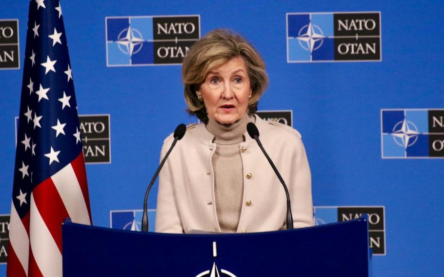 U.S. NATO Ambassador Kay Bailey Hutchison in a press conference at NATO headquarters in Brussels, Belgium, on Nov. 19, 2019,  blasted comments by French President Emmanuel Macron that the 70-year-old alliance is ?experiencing brain death.?