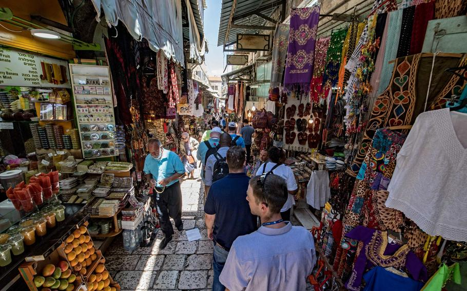 U.S. Navy sailors take a guided tour through Jerusalem's Old City as part of a Morale, Welfare and Recreation tour in June 2018. Security concerns have led U.S. European Command to issue travel restrictions in Israel's West Bank, which includes the Old City.