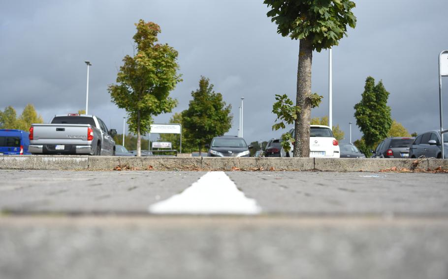 The parking space lines outside the Kaiserslautern Military Community Center at Ramstein Air Base, Germany, were redrawn and repainted earlier this year. The project was one of several funded with money the base received for being named the Air Force's best installation this year.