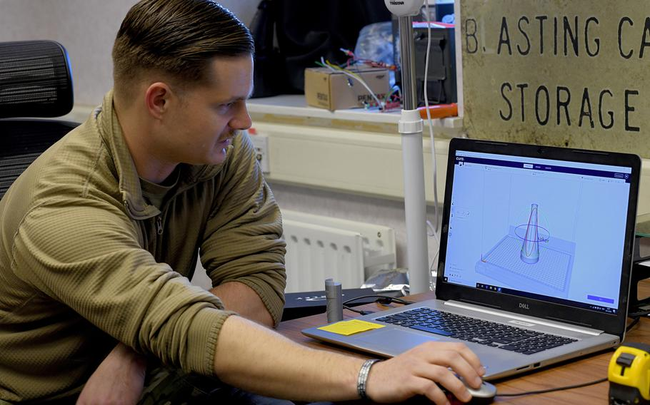 Staff Sgt. William Riddle, a 48th Civil Engineer Squadron Explosive Ordnance Disposal NCO, designs a dummy weapon that will be produced using a 3D printer and used in training by airmen at RAF Lakenheath, England, Nov. 19, 2019.