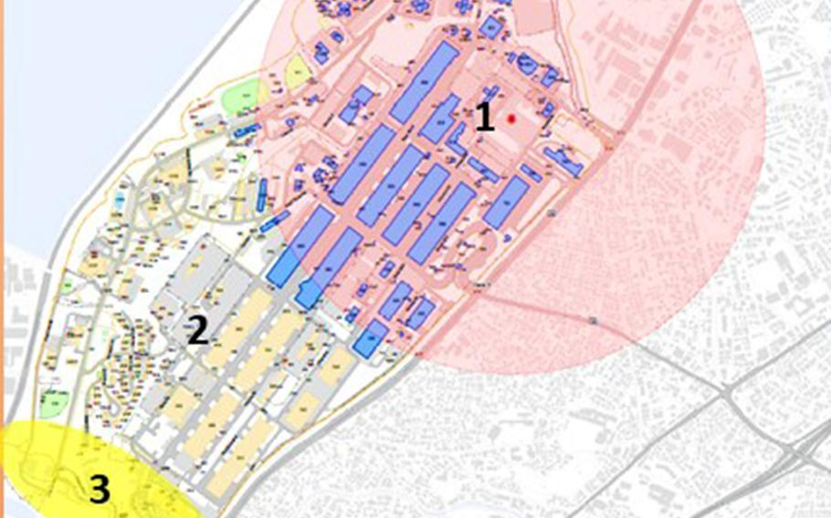 Camp Kinser, a Marine Corps base on Okinawa, will be evacuating more than 100 buildings while unexploded ordnance is removed on Sunday, Dec. 15, 2019.
