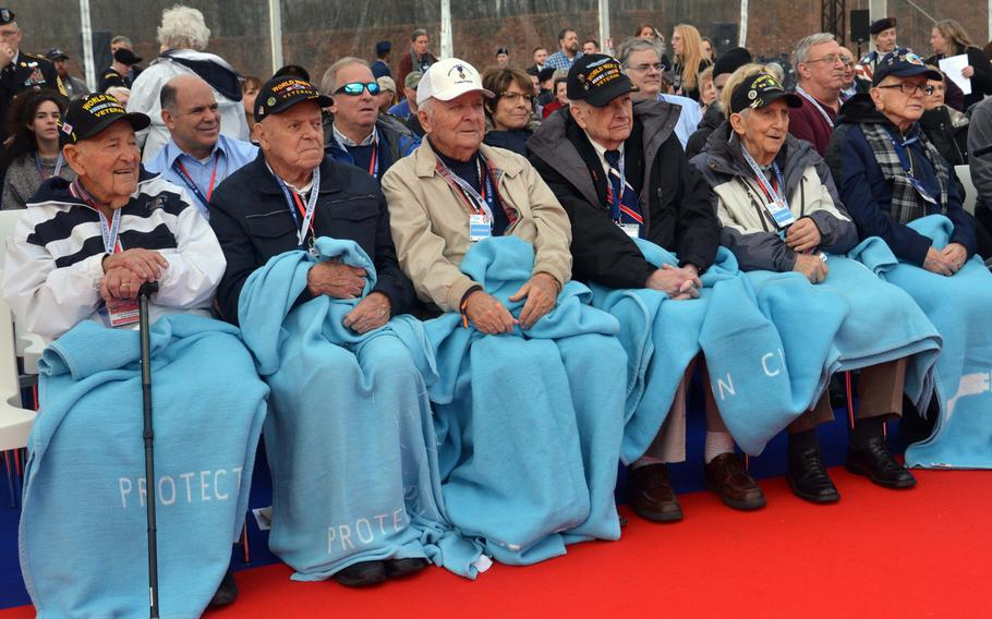 Battle of the Bulge veterans wait for the commemorations at the Luxembourg American Cemetery marking the 75th anniversary of the battle, Monday, Dec. 16, 2019.