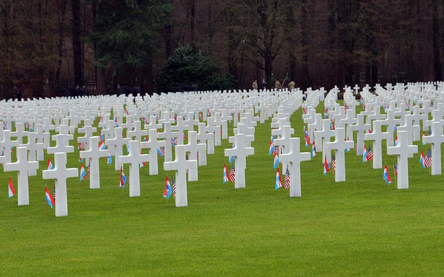 Rows of crosses and Stars of David at the Luxembourg American Cemetery, Monday Dec. 16, 2019. There are 5,073 service members buried at the theater.