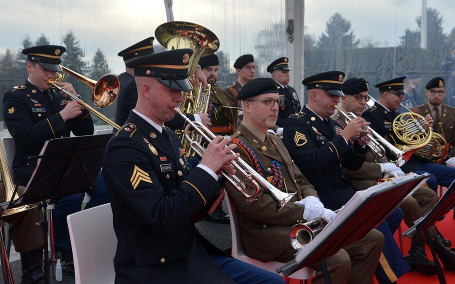 A U.S. Army brass quintet along with a military band from Luxembourg played at the commemorations at the Luxembourg American Cemetery marking the 75th anniversary of the Battle of the Bulge, Monday, Dec. 16, 2019.