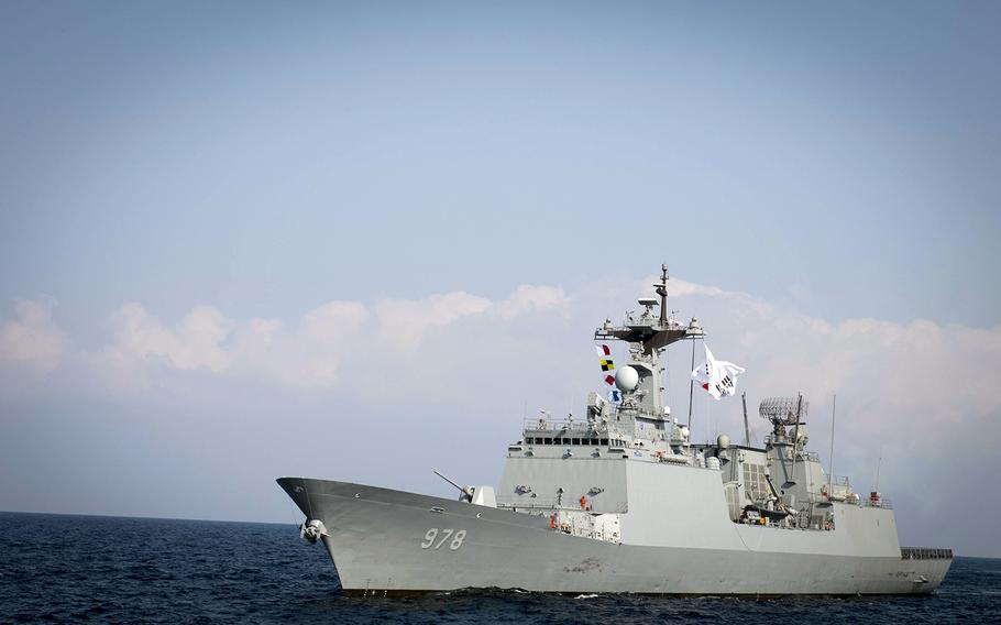 South Korean guided-missile destroyer Wang Geon steams east of the Korean peninsula during exercise Foal Eagle in March 2017.