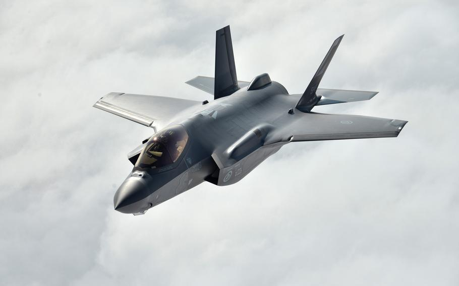 A Norwegian air force F-35 Lightning II flies over Norway in August 2018. Poland is scheduled to sign a contract for 32  F-35s, setting itself up to become the first country in Eastern Europe to fly the 5th-generation aircraft.