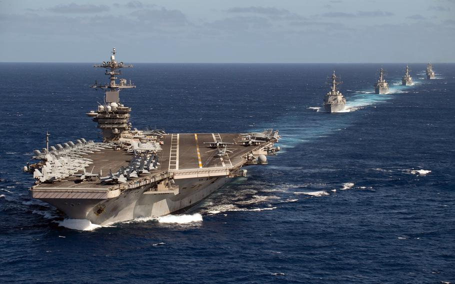 The Theodore Roosevelt Carrier Strike Group transits the Pacific Ocean in formation Jan. 25, 2020. Global military spending increased by the largest amount in a decade last year, according to a new report that shows the U.S. and China leading the way.