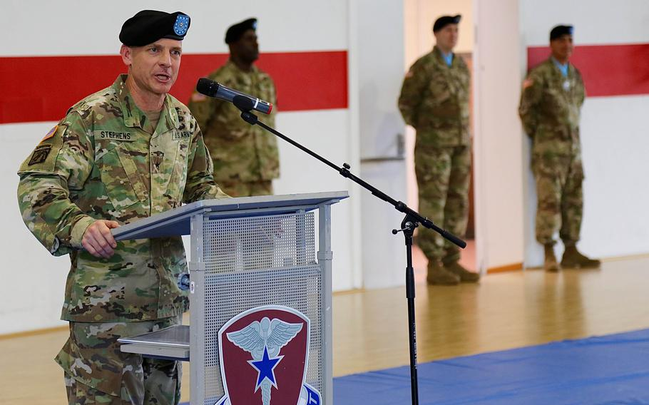 Brig. Gen. Ronald Stephens speaks after assuming command of Regional Health Command Europe in May 2018 in Sembach, Germany. Stephens has been suspended pending an investigation into unspecified allegations, U.S. Army Europe said.