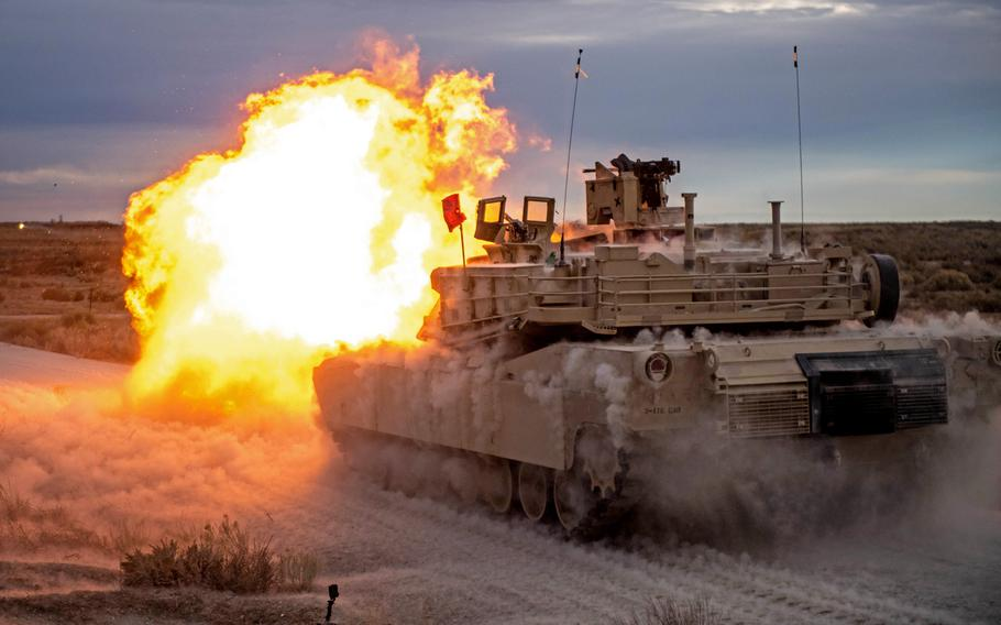 Bravo Company, 2nd Battalion, 116th Cavalry Regiment, conducts tank crew gunnery at the Orchard Combat Training Center, Nov. 11, 2019. Tank, howitzer and armed helicopter crews as well as troops firing missiles or small arms inside indoor firing ranges can be exposed to carbon monoxide, a military health report detailing thousands of exposures said.