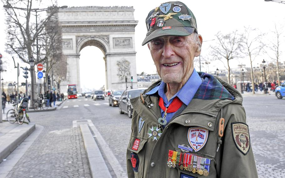 Stephen J. Weiss stands near the Arc de Triomphe on Feb. 14, 2020, in Paris, where he took part in a ceremony to honor veterans of the Office of Strategic Services, a precursor to the CIA that helped liberate France during World War II. Weiss, 94, died last week in his London apartment.