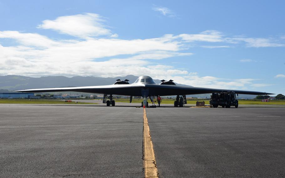 A U.S. Air Force B-2 Spirit Bomber waits to complete a hot pit refueling mission at Lajes Field, Azores, Portugal, in September 2019. A B-2 bomber task force landed March 9, 2020 at Lajes Field at the start of a series of operations in Europe, the military said.