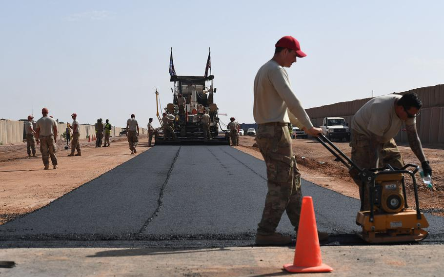 Airmen prepare a flight line test strip on Air Base 201 in Agadez, Niger, Oct. 19, 2018. The Pentagon's Inspector General said in a report Thursday said that the military mismanaged the construction of the base and may have violated the law.
