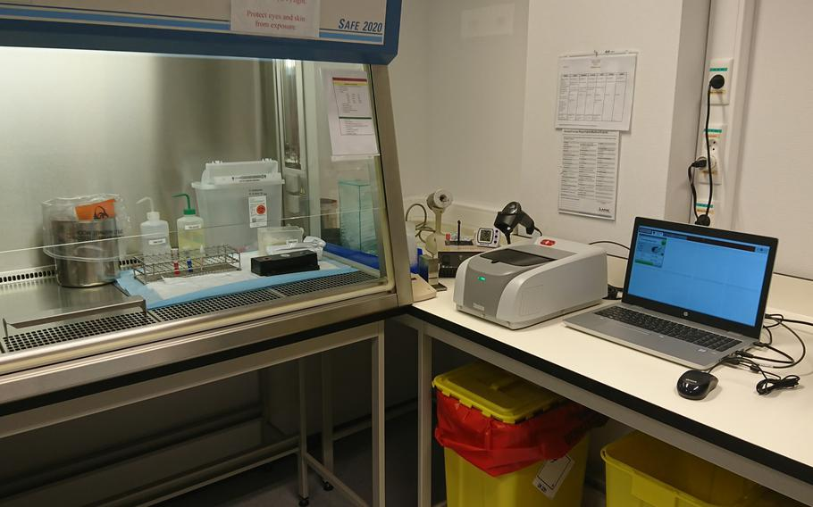 A fully automated diagnostic test designed to detect the coronavirus is set up at the U.S. Army SHAPE Healthcare Facility in Belgium. The new system was recently authorized by the Food and Drug Administration for emergency use to diagnose whether patients have the coronavirus.